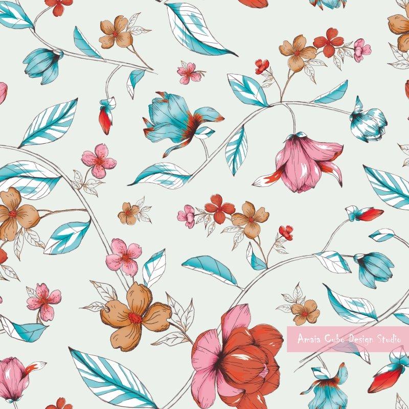 Estampado Vintage De Flores Amaia Cubo Design Studio
